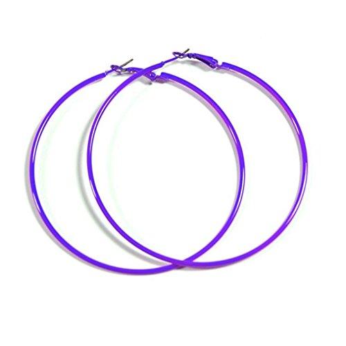 PURPLE Hoop Earrings 50mm Circle Size - Bright & Vibrant Colors ()