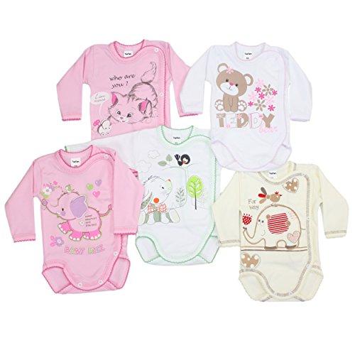 5er Pack Wickelbodys mit Aufdruck Mädchen Langarm Body Baby Bodys Set Jungen 100% Baumwolle, Farbe: Mädchen, Größe: 74