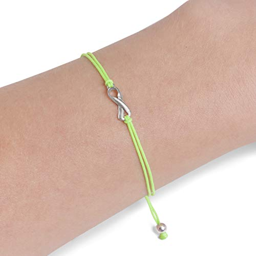 Lime Green Friendship Support Bracelet, Small Sterling Silver Handmade Ribbon Shaped Charm. Awareness for Mental Health Stress, Non-Hodgkin's Lymphoma, Lyme Disease. Adjustable Cord