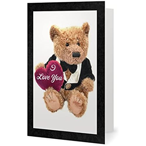 Valentines Day Spouse Wife Husband Friend Sweetheart Bear Cute Hug Love Greetiing Card (5x7) by QuickieCards. Sales