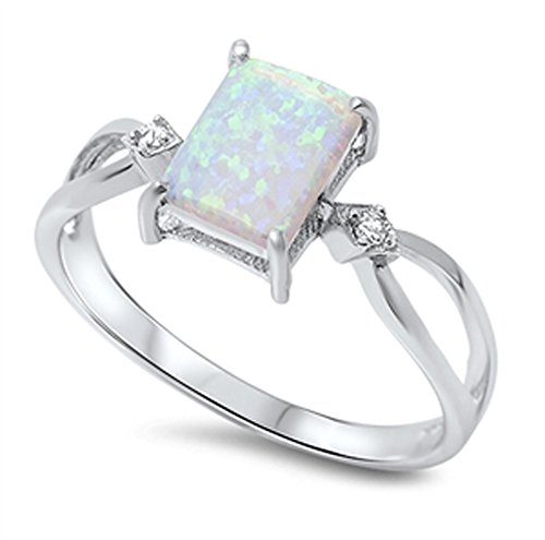 - White Simulated Opal Criss Cross Square Solitaire Ring Sterling Silver Band Size 8