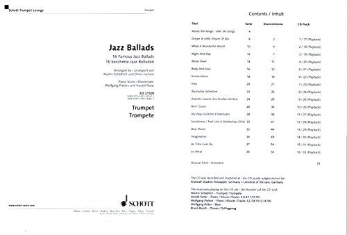 Jazz Ballads - 16 famosos baladas para trompeta de la serie Schott Trumpet Lounge - libro de Partituras con CD y colorida pinza para partituras con forma de ...