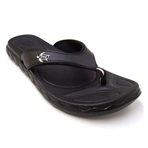 Pali Hawaii Thong Sandal (Black, 7)