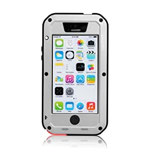 Victec Metal Aluminum Phone Case Cover for iPhone 5C with Gorilla Glass Waterproof Shockproof Dustproof Full Angle Protected Silver