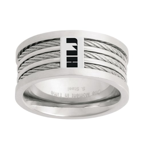 (One Moment In Time LDS Mens Spanish Triple Cable HLJ CTR Ring for Boys CTR Ring Size11 Stainless Steel)