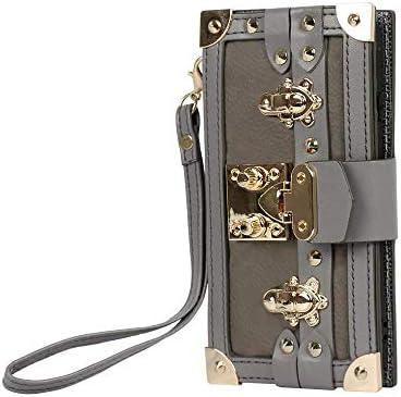 (Bidear)iPhone7Plusケース/iPhone8Plusケース 手帳型ケース カードポケット付き(6枚)ネックストラップ付き (iPhone7plus/8plus 16cm gray)
