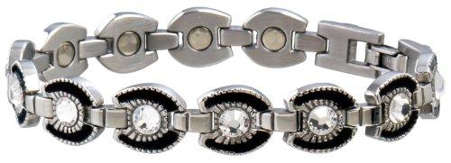 Sabona Ladies Gem Horseshoe Magnetic Bracelet (Stainless/Black, Small /6.5)