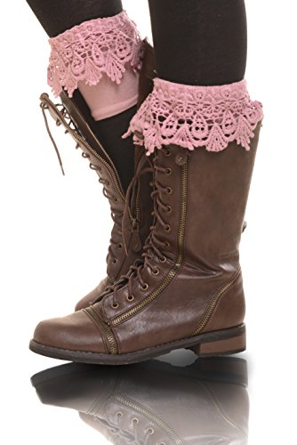 ICONOFLASH Women's Damask Lace Boot Cover Cuffs, Pink (Heavyweight Lace)