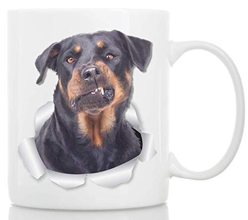 Funny Rottweiler Coffee Mug - Ceramic Dog Coffee Mug - Perfect Rottweiler Gifts for Dog Lovers - Cute Rottweiler Home Decor for Rottie Mom - Great Birthday or Christmas Surprise for Dog Owner ()