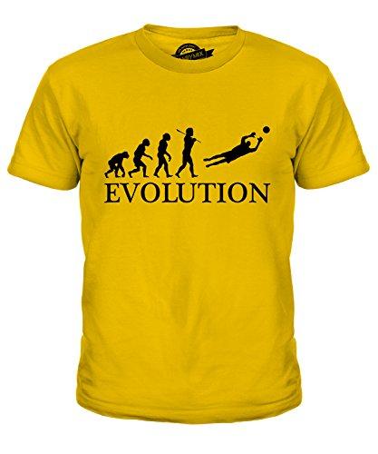 Fußball Torwart Evolution des Menschen - Unisex Kinder T-Shirt Top - Jungen/Mädchen/Kinder/Kleinkind - Baumwolle, Karamellbonbon, 100% baumwolle 100% ringspun, 128
