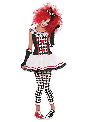 Ladies Red White Black Harlequin Honey Jester Carnival