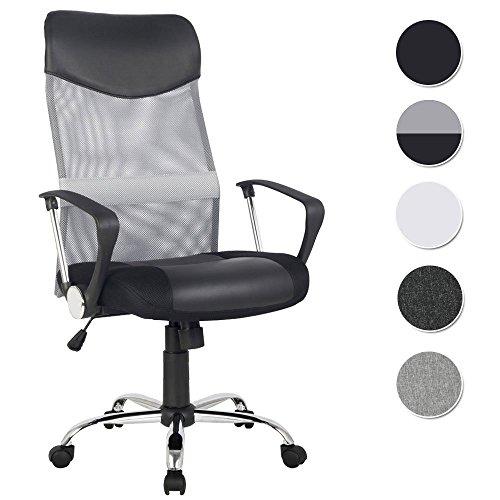 SixBros. Chefsessel Bürostuhl Schreibtischstuhl Drehstuhl Grau/Schwarz - H-935-6/2061