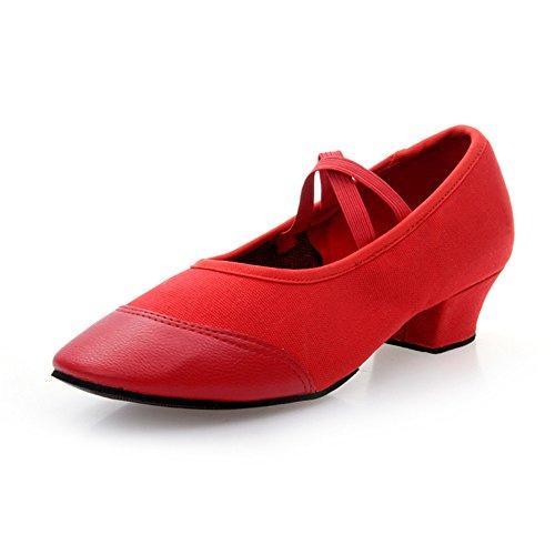 La Participación De La Mujer En El Interior De Zapatos De Baile Zapatos De Baile Latino De Adultos Rojo