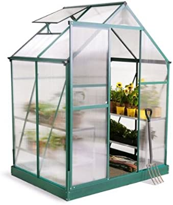 Invernadero de aluminio verde Lacewing Premium 6 x 4 con base ...