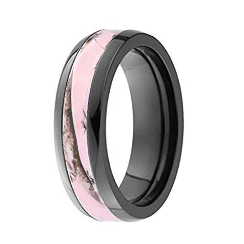 KingswayJewelry Pink Women`s Camo Black Titanium Hunting Wedding Band Ring #PRW1 (Size Women 8) (Pink Hunting Ring Camo)