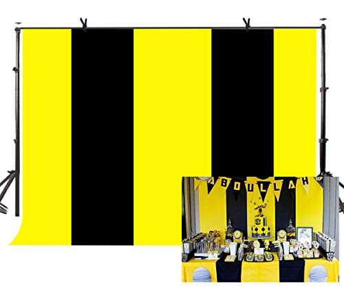LYLYCTY 7x5ft Bee Color Backdrop Black and Yellow Stripes Background Smiling Party Background Movie Theme Party Photo Booth Professional Photography Props LYZY0504