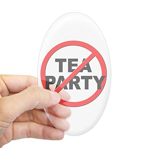 CafePress - Anti / No Tea Party Sticker (Oval) - Oval Bumper Sticker, Euro Oval Car - Stickers Palin Bumper Sarah