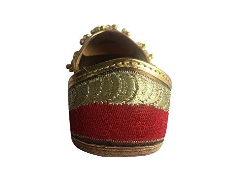 Step n Style Mujer Rojo Ghungroo Punjabi jutti tradicional Khussa Zapatos étnico mojari plano Ballet Rojo - rojo