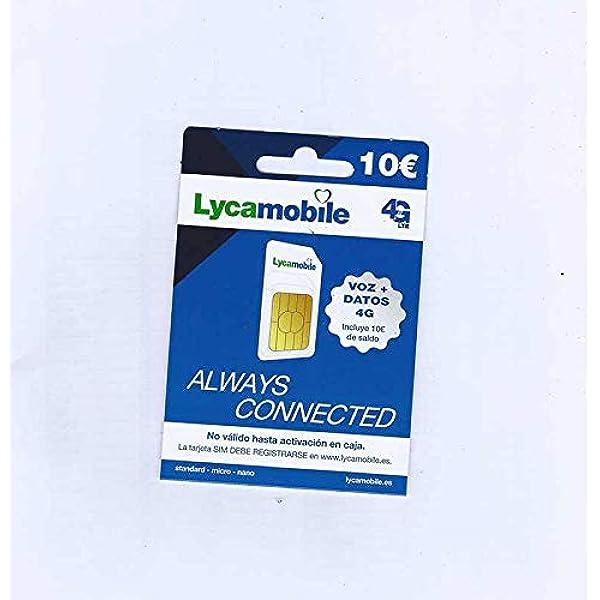 Tarjeta SIM Lycamobile - 10€ de saldo: Amazon.es: Electrónica