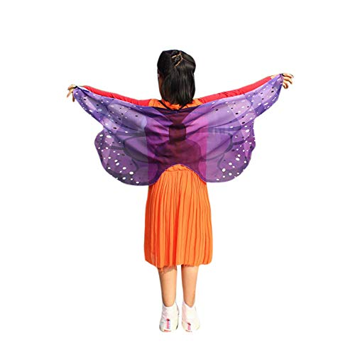 vermers Child Kids Costume Shawl Boys Girls Bohemian Butterfly Print Shawl Pashmina Costume Accessory(Purple) ()
