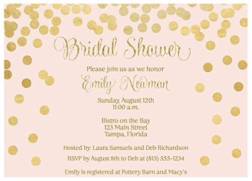 Brunch and Bubbly Bridal Shower Invitations Confetti Wedding Party Invites Brunch and Baby Sprinkle Rehearsal Dinner Customize Cards Champagne Silver Pink Gold Golden Glitter (10 Count)