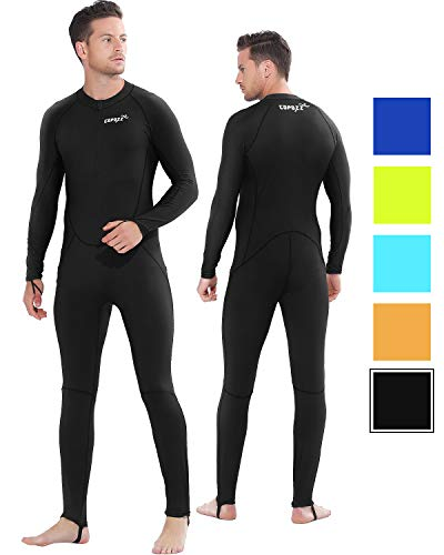 COPOZZ Rash Guard, Full Body Thin Wetsuit, Lycra UV Protection Long Sleeves Dive Skin Suit - for Swimming/Scuba Diving/Snorkeling/Surfing- One Piece for Men Women (Black, X-Large for Men)