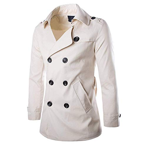 Mens Trench Coat Double Breasted Raincoat Belted Winter Trench Windbreaker (White, US M=L)