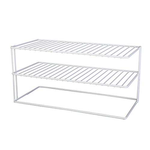 Helper Shelf Cabinet Organizer - Grayline Panacea 40126, Large Two Shelf Organizer, White