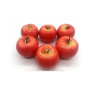 Mezly 6Pcs Simulation Artificial Lifelike Fake Red Apple Set Fake Fruit for Home House Kitchen Wedding Party Decoration Photography 28
