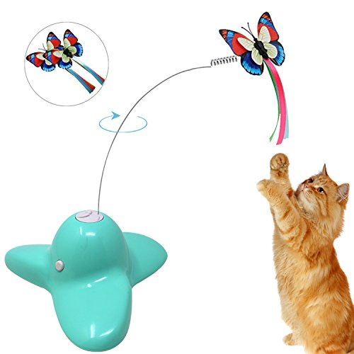 Action Pedal Cleat (OWIKAR Electric Rotating Butterfly Cat Toys, Interactive Cat Toy With Two Replacement Flashing Butterflies Spinning Teaser Toy (Green))
