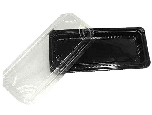 Choice-Pac L1J-2111-Blk Polypropylene Rectangular Sushi/Dim Sum Tray with Clear Raised Lid, 9-3/16'' Length x 4-1/8'' Width x 1-1/2'' Height, Black, Long (Case of 500)