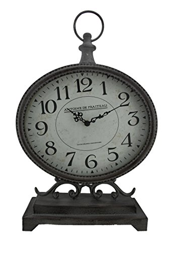 zed Metal Finish Mantel Clock 17 1/2 Inches Tall ()