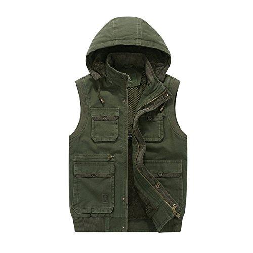 Male Multi-pocket Outdoor Vest Plus Velvet Jacket Green