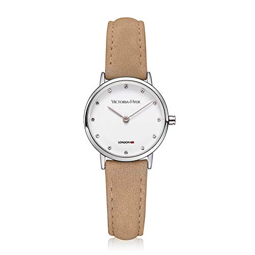 VICTORIA HYDE Women Quartz Waterproof Watches Small Dial Tan Genuine Leather Strap for Lady