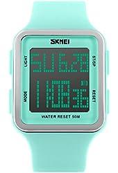 SNE Skmei Women's SK1139A Outdoor Sports Multifunction Waterproof Big Face Square Digital Silicone Strap Watch Light Green Aqua