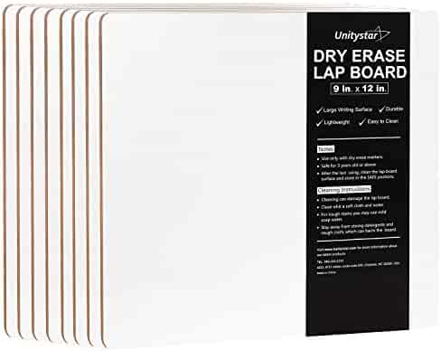 Dry Erase Board, UnityStar 8-Pack 9 x 12 inches Small Dry Erase Lap Board Portable Classroom Whiteboard for Students Teachers Kids Writing Drawing, Single-Sided, 0.4LBS/Each