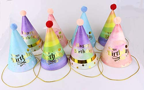 8 Pcs Happy Birthday Party Hats for Kids and Adults, Party Supplies for Group Activities, Games and Decorations