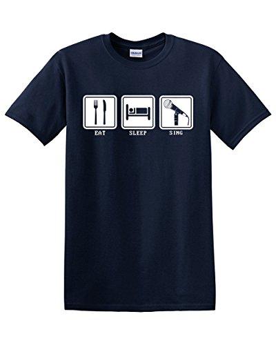 Thread Science Eat Sleep Sing Funny Music Adult Mens Unisex T-Shirt Navy Blue (Large) -