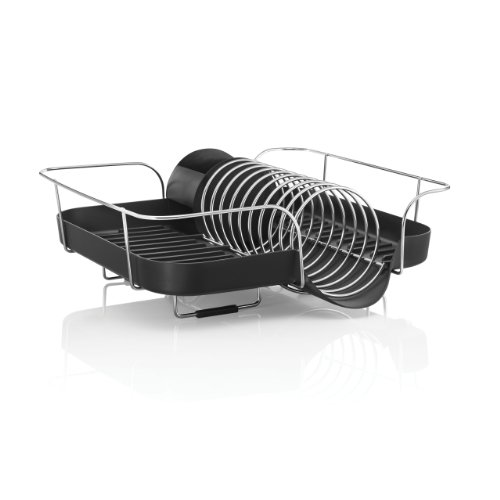 Polder KTH-660 Spring Dish Rack with Utensil Holder, Black