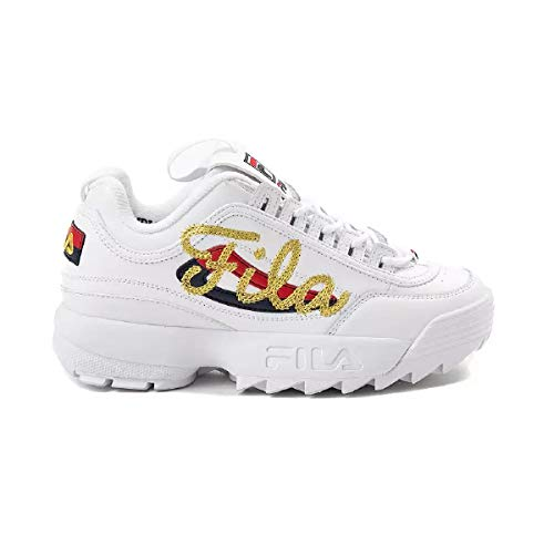 Fila Womens Disruptor II Signature Leather Retro 90 Sneaker Shoe White Size 9 from Fila