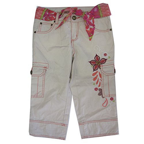 Disney Big Girls White Bone Floral Embroidered Cargo Capri Pants 12 (Leggings Cargo Capri)