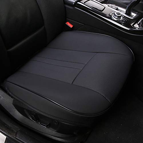 shakar PU Leather Seat Covers for Car Front Seats-Luxury Leatherette Car Seat Cushion,1 Piece,1 Piece (Super-Black) ()