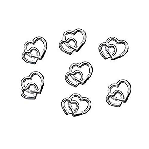 YaptheS 25 PCS Double Heart Sweetheart Charms for Wedding Favor Decoration Love Theme Party Jewelry Accessories Silver Office Supplies