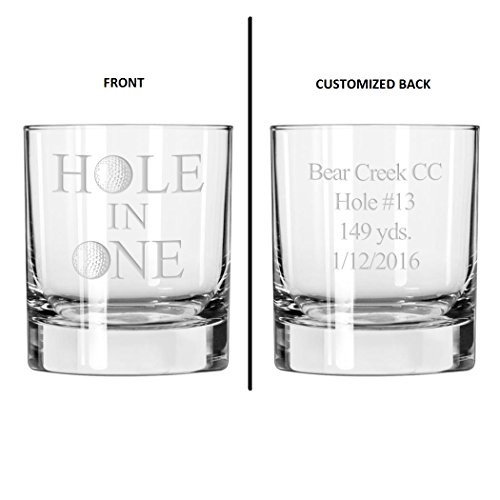 Hole in One Golf Whiskey Glass With Custom Course Details