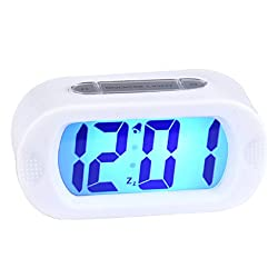 Lookatool Easy Setting Silicone Protective Cover Digital Silent LED Large Screen Desk Bedside Alarm Clock With Snooze Light (White)