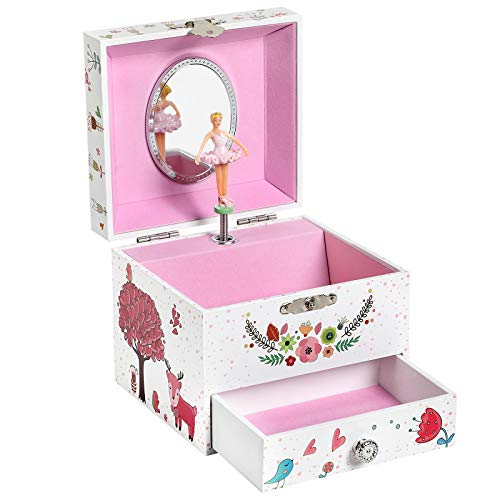 (SONGMICS Ballerina Musical Jewelry Box, Wind-Up Music Storage Box with Pullout Drawer, Elk Theme, Gift for Kids, White UJMC014PK)