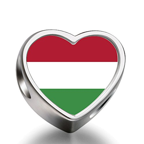 Hungary flag Heart Silver Plated Charms Bracelet Necklace Beads Waist Beads 6mm Hole Craft Metal Beads floating Charms for - Gifts Christmas Hungary