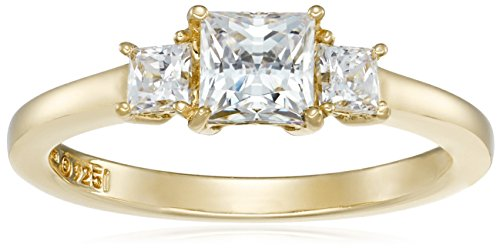 Yellow-Gold-Plated Sterling Silver Princess-Cut 3-Stone Ring made with Swarovski Zirconia (1 cttw), Size 7