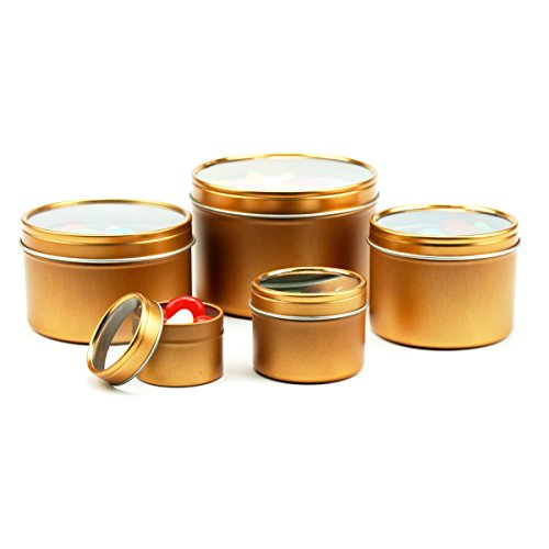 Mimi Pack 4 oz Deep Round Tin Can Clear Window Top Lid Steel Containers For Favors, Spices, Balms, Gels, Candles, Gifts, Storage 24 Pack (Bronze)