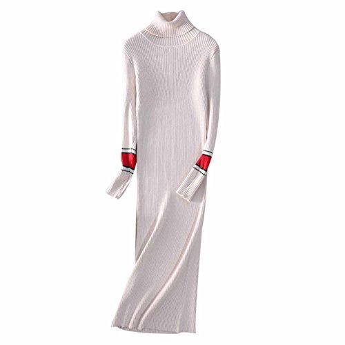 Dresses Cashmere Turtleneck Sweater (VenuStar Womens Sweater Dress Cashmere Slim Fit, Turtleneck, Long Sleeve (Beige))